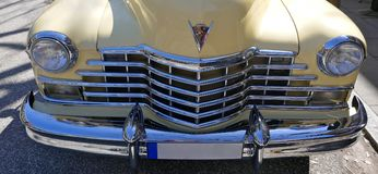Cadillac, vanilla yellow, American car of the 1940s, Model 62 Coupe Yoga Mat, 1947. Rarity !  Hamburg, Germany, April 2018 pe. Cadillac, vanilla yellow, American Royalty Free Stock Photos