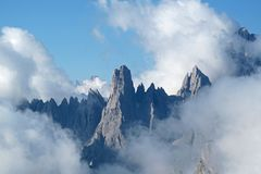 Cadini Di Misurina bergketen in Nationaal Park Tre Cime di Lavaredo, Dolomiet, Italië, Europa Stock Afbeelding