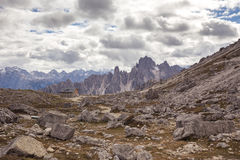 Cadini di Misurina range in National Park Tre Cime di Lavaredo. Stock Images