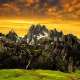 Cadini di Misurina. In the sunset,Dolomite Alps,Italy Stock Photo