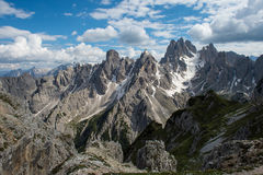 Cadini dolomite mountains - view from the top. Wonderland dolomite mountain - world natural heritage Royalty Free Stock Photography