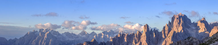 Cadini Mountain Range in Dolomites. Cadini mountains with Cima Cadin di NE, San Lucano and Torre Siorpaes, as viewed from Rifugio Lavaredo, near the Three Peaks Royalty Free Stock Photography
