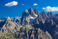 Cadini range, Dolomites, Italy. Cadini range with cloud contrasts, Dolomites, Italy Royalty Free Stock Photo