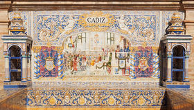 Cadiz. Andalusian ceramic Poster depicting historic moments of the city of Cadiz Stock Photo