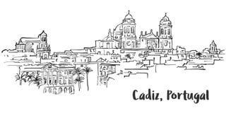 Free Cadiz Ancient Panorama Artprint Stock Photography - 86942982
