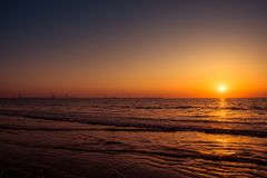 CADIZ / ANDALUSIA - OCTOBER 10 2017: ATLANTIC SUNSET royalty free stock photography