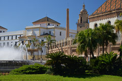 Cadiz, Andalusia, Spain. City square, gardens and fountain Stock Photo