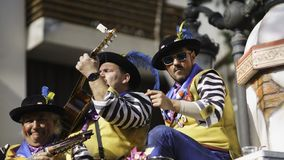 Cadiz, a Andaluzia, Espanha; 12 de fevereiro de 2018: Celebração do carnaval de Cadiz Fotos de Stock Royalty Free