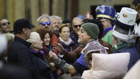 Cadiz, a Andaluzia, Espanha; 12 de fevereiro de 2018: Celebração do carnaval de Cadiz Fotografia de Stock Royalty Free
