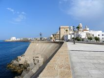 Cadiz. Atlantic Ocean view from Cadiz city en Andalucia  Spain  with its cathedral in background Royalty Free Stock Photo