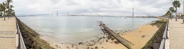 Cadiz bay panoramic view ant the new bridge called Pepa or the 1 Stock Photography