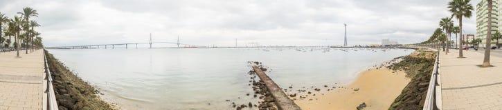 Cadiz bay panoramic view ant the new bridge called Pepa or the 1 Stock Photos