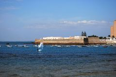 Cadiz castle and harbour, Spain. Stock Photography