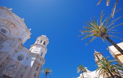 Cadiz Cathedral. Cathedral Square Cadiz, Andalucia, Spain Royalty Free Stock Images