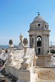 Cadiz Cathedral Bell Tower. Eastern bell tower and rooftop statues on the Cathedral, Cadiz, Cadiz Province, Andalusia, Spain, Western Europe royalty free stock image