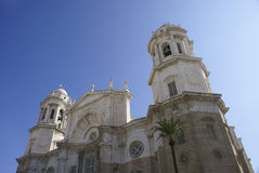 Cadiz Cathedral. With blue sky at Andalucia, Spain Stock Photography