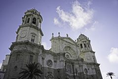 Cadiz Cathedral. Frontal view of Cadiz Cathedral at Spain Stock Images