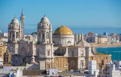 Cadiz Cathedral. Landscape of the Cathedral of Cadiz, aerial view Royalty Free Stock Image