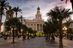 Cadiz Cathedral in Paseo Campo del Sur. Cadiz, Spain. Stock Photography