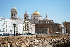 Cadiz Cathedral and promenade. Stock Images