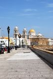 Cadiz Cathedral and promenade. Royalty Free Stock Photography