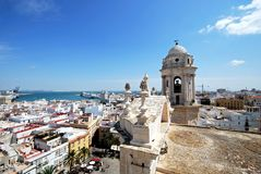 Cadiz Cathedral rooftop and cityscape. Stock Image