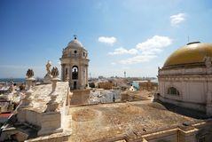 Cadiz Cathedral Rooftop. Eastern bell tower and rooftop statues on the Cathedral, Cadiz, Cadiz Province, Andalusia, Spain, Western Europe Stock Photo