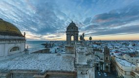 Cadiz Cathedral View from East Tower Cadiz Spain. Cadiz Cathedral is a Roman Catholic church in Cadiz, southern Spain, and the seat of the Diocese of Cadiz y stock footage