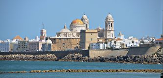 Cadiz Cathedral View From The Water. Spain. Royalty Free Stock Photo