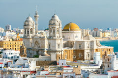 Cadiz. Cathedral. View of the towers and dome of the cathedral on a sunny day. Cadiz. Spain stock photos