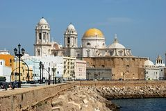 Cadiz Cathedral and waterfront. Royalty Free Stock Photos