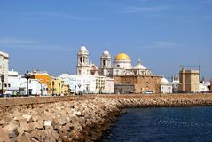 Cadiz Cathedral and waterfront. Royalty Free Stock Image
