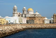 Cadiz Cathedral and waterfront. Royalty Free Stock Photo