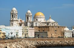 Cadiz Cathedral and waterfront. Royalty Free Stock Photography