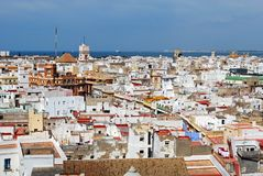Cadiz city rooftops, Spain. Elevated view of the city rooftops looking North from the Cathedral Bell tower, Cadiz, Cadiz Province, Andalusia, Spain, Western Stock Image