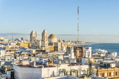 Cadiz cityscape with famous Cathedral, Andalusia, Spain. Cityscape with famous Cathedral of Cadiz by Atlantic Ocean, Cadiz, Andalusia, Spain Stock Image