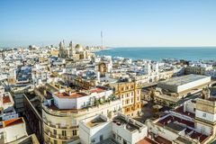 Cadiz cityscape with famous Cathedral, Andalusia, Spain. Sunny cityscape with famous Cathedral of Cadiz, Cadiz, Andalusia, Spain Royalty Free Stock Photos