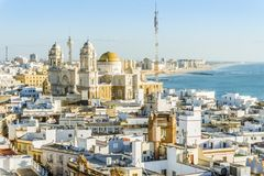 Cadiz cityscape with famous Cathedral, Andalusia, Spain. Sunny cityscape with famous Cathedral of Cadiz, Cadiz, Andalusia, Spain Royalty Free Stock Image