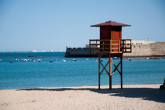 Cadiz coastline. Lifeguard tower in Cadiz, Spain Stock Photos