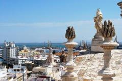 Cadiz domkyrkatak och cityscape fotografering för bildbyråer