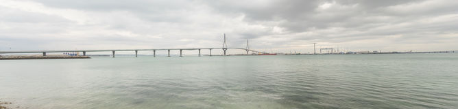 Cadiz new bridge panoramic view, called Pepa or the 1812 Constit Royalty Free Stock Images