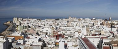 Cadiz panorama. Cadiz is a city and port in southwestern Spain. It is the capital of the Cadiz Province. Cadiz is the oldest continuously-inhabited city in the Royalty Free Stock Images