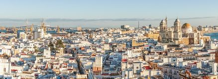 Cadiz panorama with famous Cathedral, Andalusia, Spain. Sunny cityscape with famous Cathedral of Cadiz, Cadiz, Andalusia, Spain Royalty Free Stock Photography