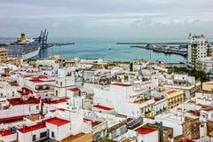 Cadiz port in Spain. Panirama of city and seaport. Stock Image