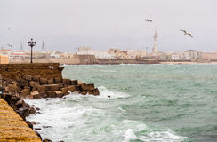 Cadiz quay in stormy weather Stock Photo