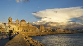 Cadiz Cathedral Under Cumulonimbus Spain royalty free stock photo