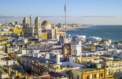 Cadiz skyline with the cathedral and Atlantic Ocean, Spain. Cadiz skyline with old Cathedral of Cadiz and Atlantic Ocean, Spain Royalty Free Stock Image