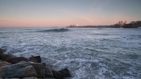 Cadiz Skyline From Santa Maria Beach Cadiz Spain stock video footage