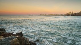 Cadiz Skyline From Santa Maria Beach Cadiz Spain Time Lapse stock video