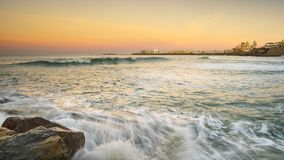 Cadiz Skyline from Santa Maria Beach Cadiz Spain Stock Photos
